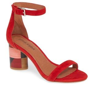 Jeffery Campbell Purdue red suede cube heel 6